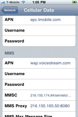 Mobile iPhone MMS Settings For iOS 4