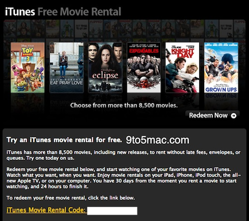 Apple Is Giving Away Promo Codes To Rent Movies On iTunes