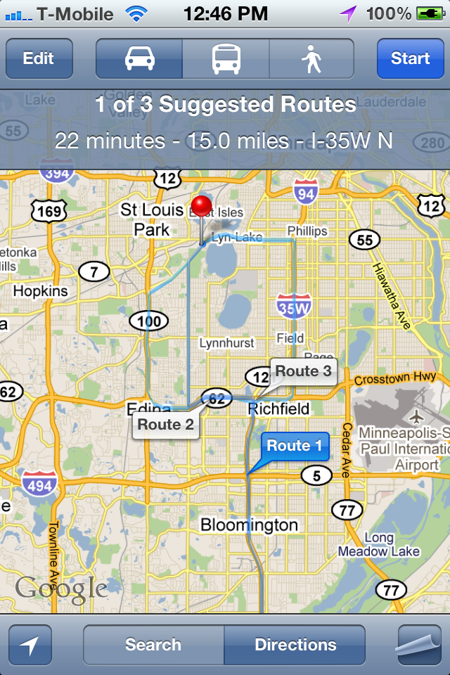 Google Maps Now Supports Multiple Routes In iOS5 on map multiple sites, map multiple destinations, map multiple stops, map multiple addresses,
