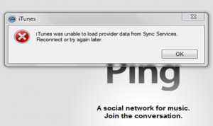 iTunes was unable to load provider data from Sync Services
