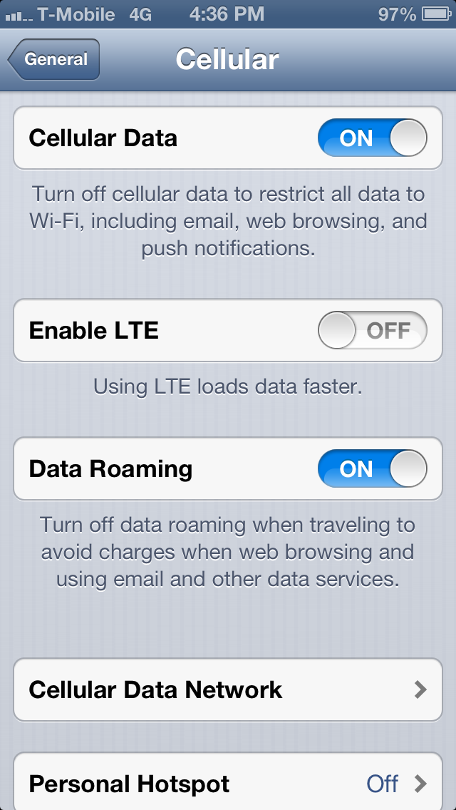 Verizon iPhone 5 T-Mobile 4G Settings